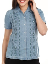 Blue Denim Embroidered Shirt - Mustard
