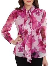 Pink & White Floral Georgette Top - Mustard