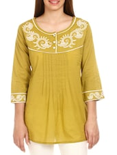 Light Olive Embroidered Cotton Top - Mustard