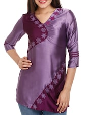 Wine & Purple Embroidered Polyester Top - Mustard