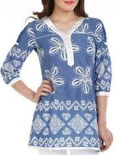 Blue & White Printed Cotton Top - Mustard