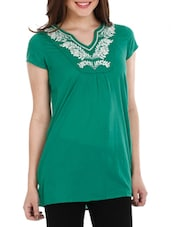 Green Embroidered Cotton Top - Mustard