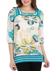 Multicolored Floral Cotton Top - Mustard