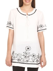 White Floral Embroidered Cotton Top - Mustard