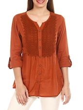 Lace Yoke Button-Up Sleeves Cotton Top - Mustard