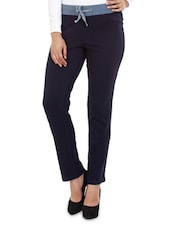 Navy Blue Cotton Trousers - Mustard