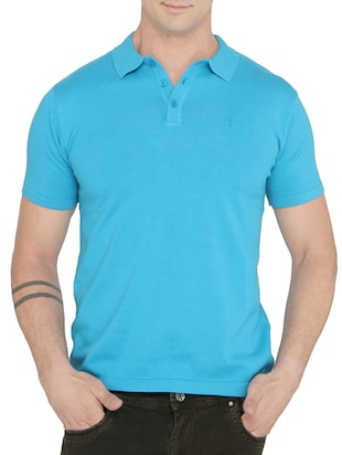 solid light blue cotton polo t-shirt -  online shopping for T-Shirts