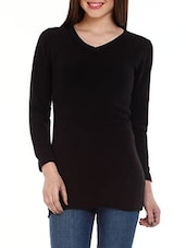 Black V-neck Long Sleeves Cotton Top - Mustard