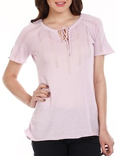 Lilac Neck Tie-up Cotton Top - Mustard
