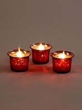 Metallic Red Glass Candle/Tealight Holder - Hosley