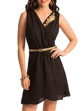 Black Sleeveless Overlap Neck Dress - PrettySecrets