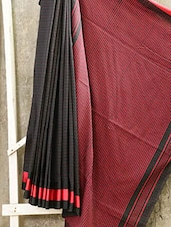 Bengal Cotton With Red Striped Saree - Attire Zone