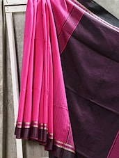 Bengal Cotton Saree In Pink Color With Black Anchal - Attire Zone