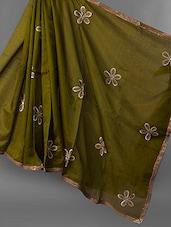 Sequined Border Floral Patch Work Net Saree - JBT