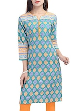 orange, blue cotton regular kurti -  online shopping for kurtis