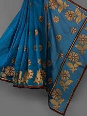 Blue Embroidered Cotton Supernet Saree - Vedika