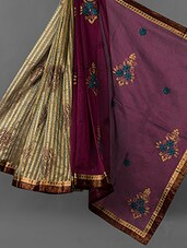 Wine And Gold Embroidered Cotton Supernet Saree - Vedika