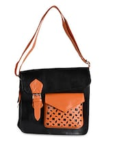 Cut Work Box Pocket Color Block Sling Bag - Spice Art