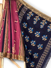 Pink And Navy Blue Matka Silk Saree - ANKUSH