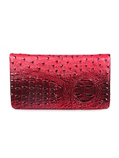 Leather Embellished Red Clutch - Sale Mantra