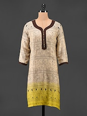 Tribal Print Quarter Sleeves Cotton Kurta - Adyana