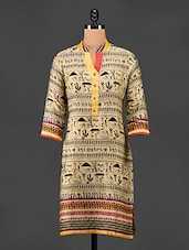 Warli Print Quarter Sleeves Cotton Kurta - Adyana