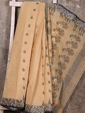 Beige Floral Border Handloom Cotton Saree - SWATI
