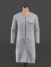 Full Sleeve Front Zipper Shift Dress - Guster Ve..