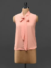 Peach Knotted Sleeveless Top - Phenomena