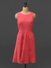 Coral Lace Dress With Cut-out Back - Phenomena