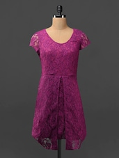 Purple Floral Front Slit Lace Dress - Phenomena