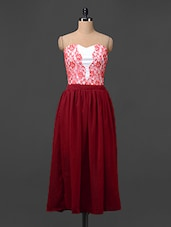 Red Lacy Strapless Dress - Liebemode