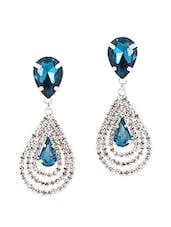 Blue Metal Alloy & Stone Earrings - Stylisda