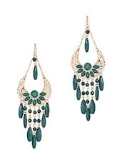 Green Crystal & Stone Embellished Chandelier Earrings - Fayon