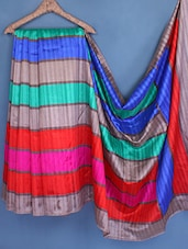 Multicolor Stripped Art Silk Saree - Styloce