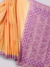 Orange And Purple Art Silk Banarasi Saree - Prabha Creations