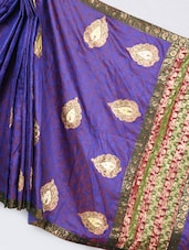 Royal Blue Art Silk Banarasi Saree - Prabha Creations