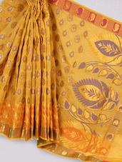 Orange Art Silk Banarasi Saree - Prabha Creations
