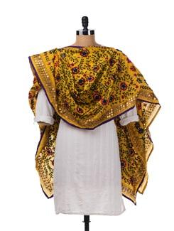 Yellow Chanderi Silk Dupatta - Vayana
