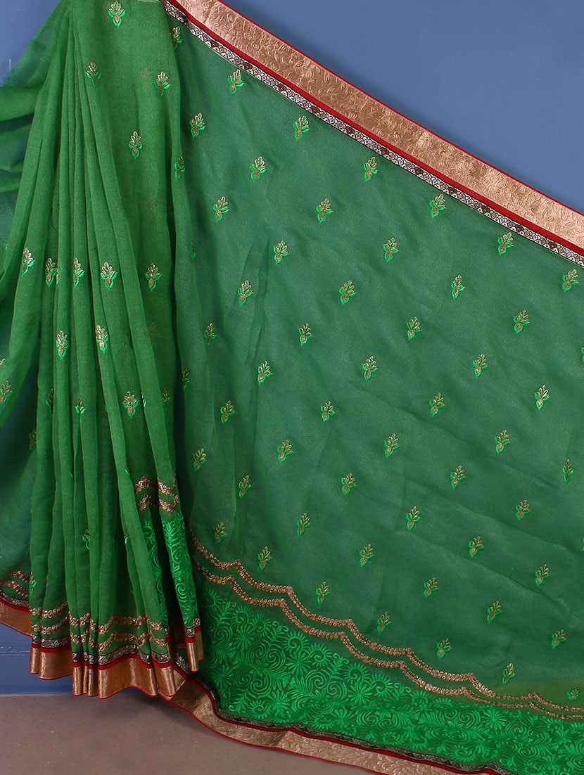 Art Silk Thread Embroidered Saree - Style Mania