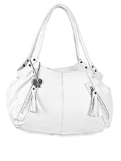White Plain Solid Leatherette Hand Bag - BUTTERFLIES
