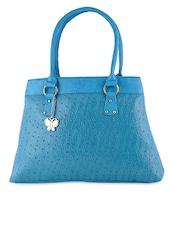 Blue Textured Leatherette Hand Bag - BUTTERFLIES