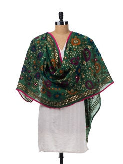 Green Chanderi Silk Embroidered Dupatta - Vayana