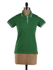 Green Short Sleeve Cotton T-shirt - Campus Sutra