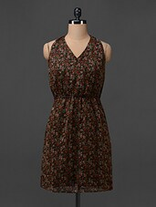Floral Printed V-Neck Chiffion Dress - Colbrii