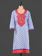 Round Neck Embroidered Printed Kurta - Aujjessa