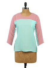 Round Neck Colour Block Georgette Top - Imu