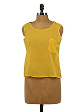 Yellow Sleeveless Lacy Back Patch Georgette Top - Imu