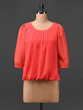 Plain Three Quarter Sleeves Georgette Top - UPTOWNGALERIA