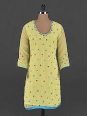 Yellow Hand Embroidered Georgette Phulkari Kurti - UPTOWNGALERIA